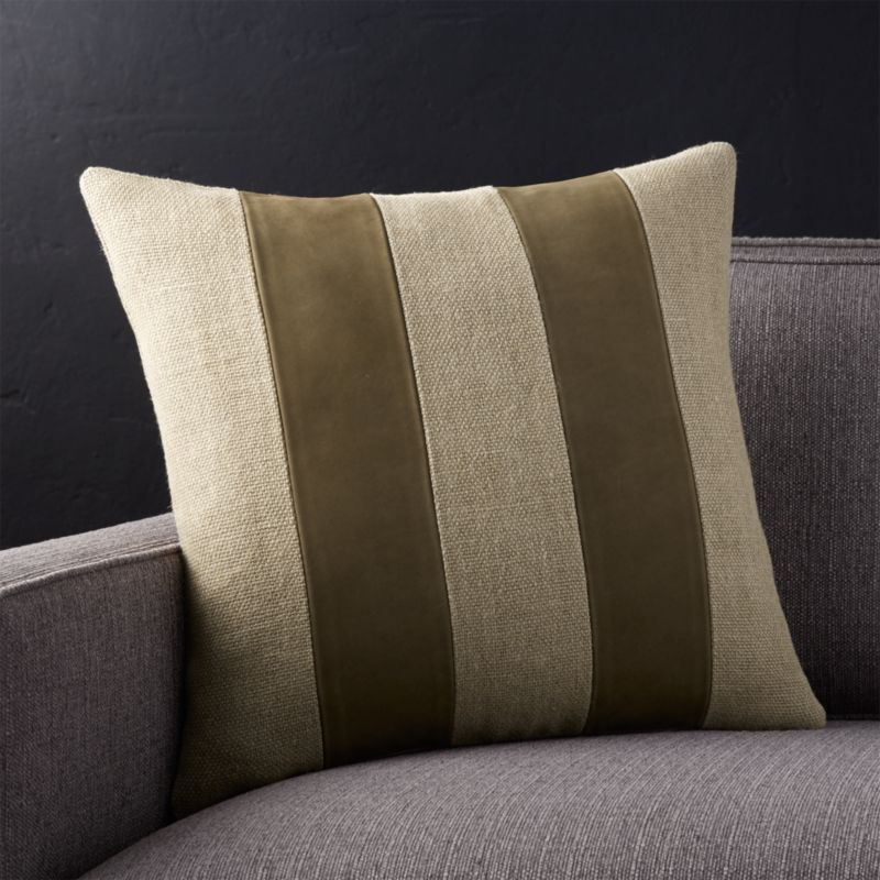 "Ira Latte 18"" Pillow with Feather-Down Insert"