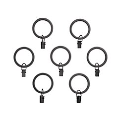 Set of 7 Black Curtain Rings
