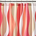 Italian Seersucker Coral Shower Curtain.