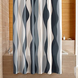 Italian Seersucker Blue Shower Curtain