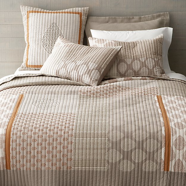 Jaipur orange full queen quilt crate and barrel for King shams on queen bed