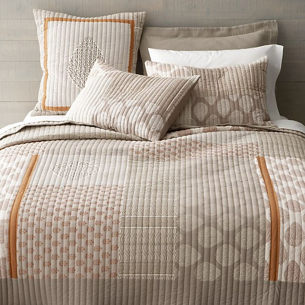 Jaipur orange quilt and pillow shams crate and barrel for Crate barrel comforter