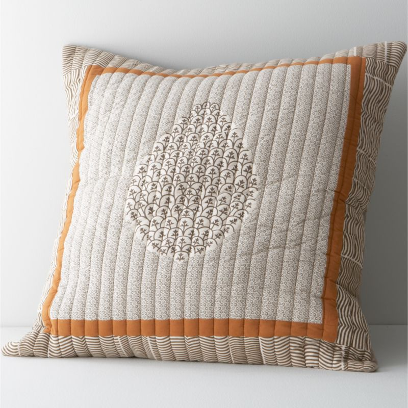 Warm, lightweight and exquisitely decorated, traditional bedding of northwestern India is renowned for its exceptional versatility and refined beauty. Our Jaipur sham updates this classic in clean, contemporary collage of traditional paisley and marble patterns richly printed in soft neutrals on silky cotton voile. Reverses to solid putty and has an envelope closure.<br /><br /><NEWTAG/><ul><li>100% cotton voile</li><li>Dry clean</li><li>Made in India</li></ul>