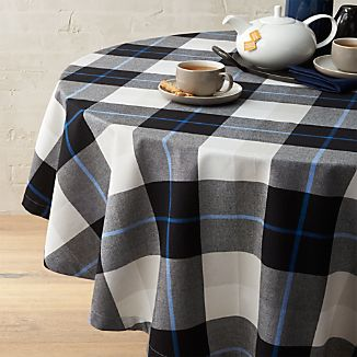 "Jameson Black & White Plaid 60"" Round Tablecloth"