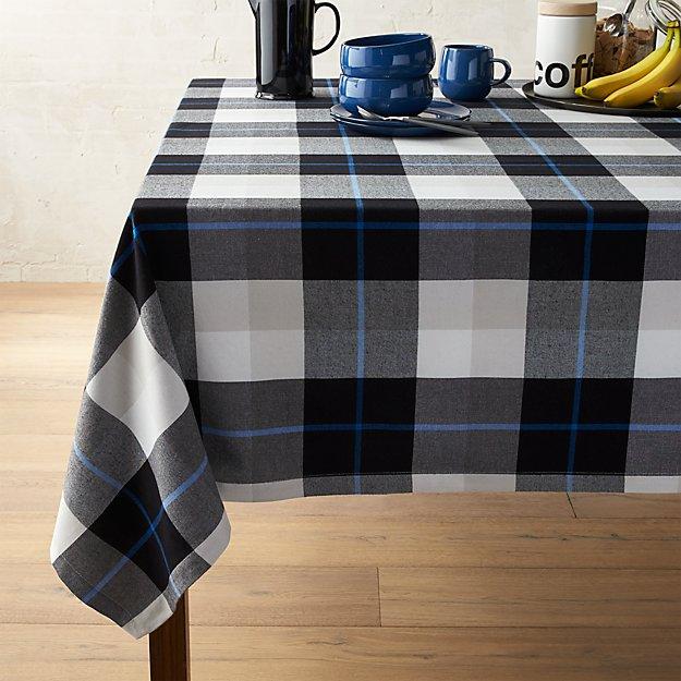 "Jameson Black & White Plaid 60""x90"" Tablecloth"