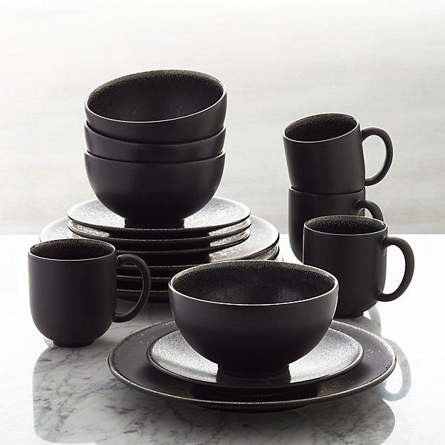 jars tourron black 16 piece dinnerware set crate and barrel. Black Bedroom Furniture Sets. Home Design Ideas
