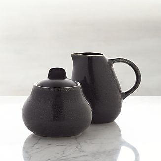 Jars Tourron Black Sugar Bowl with Lid and Creamer