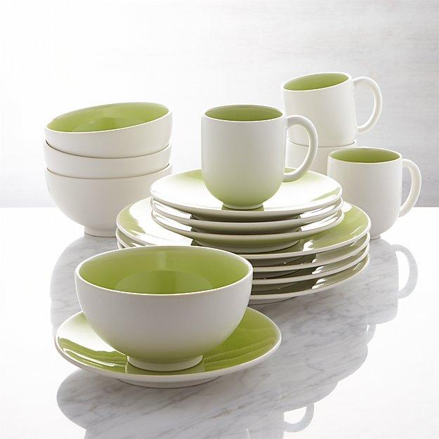 Jars Tourron Green 16-Piece Dinnerware Set