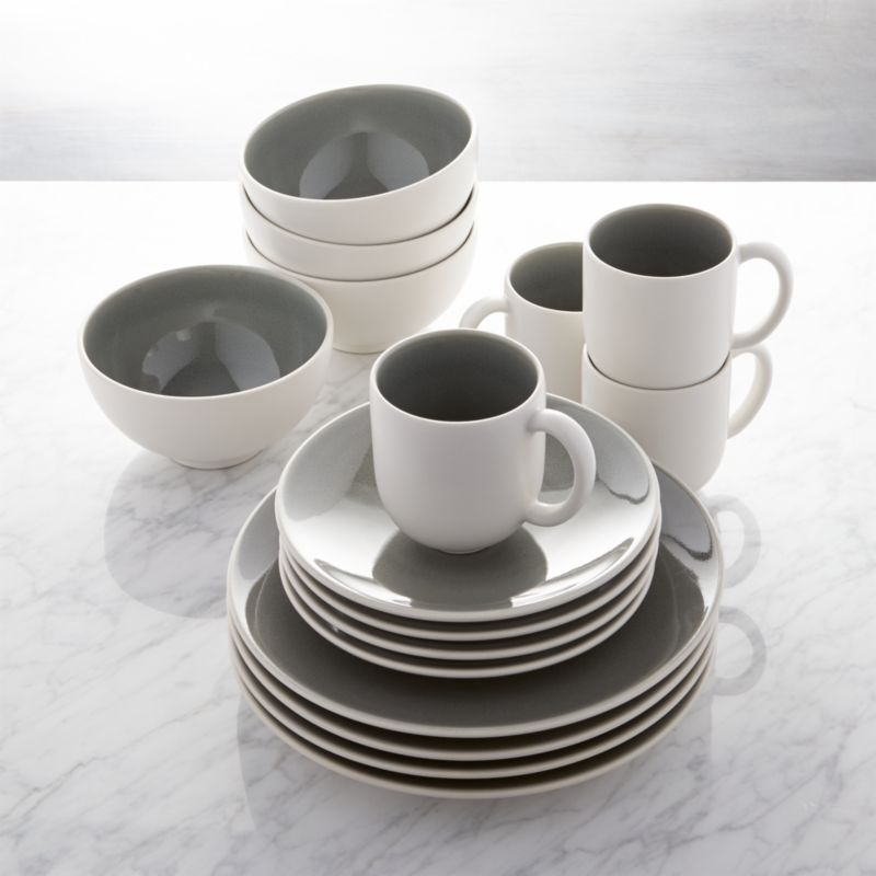 Jars Tourron Grey 16 Piece Dinnerware Set Crate And Barrel
