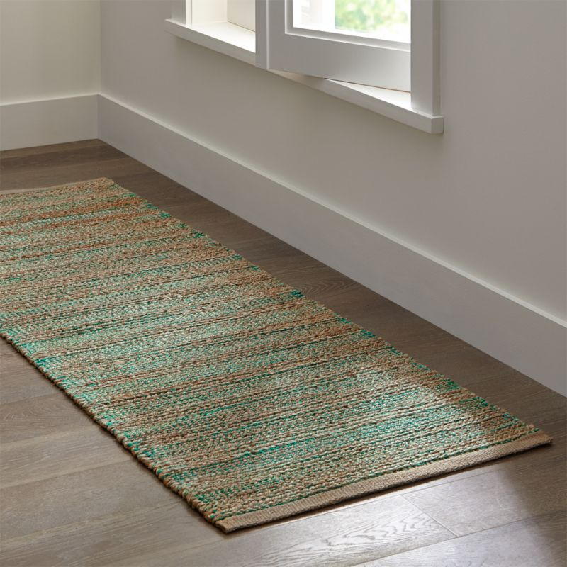 Jarvis teal blue jute blend 2 5 39 x7 39 rug runner crate and for Sideboard x7