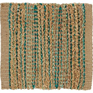 "Jarvis Teal Blue Jute-Blend 12"" sq. Rug Swatch"