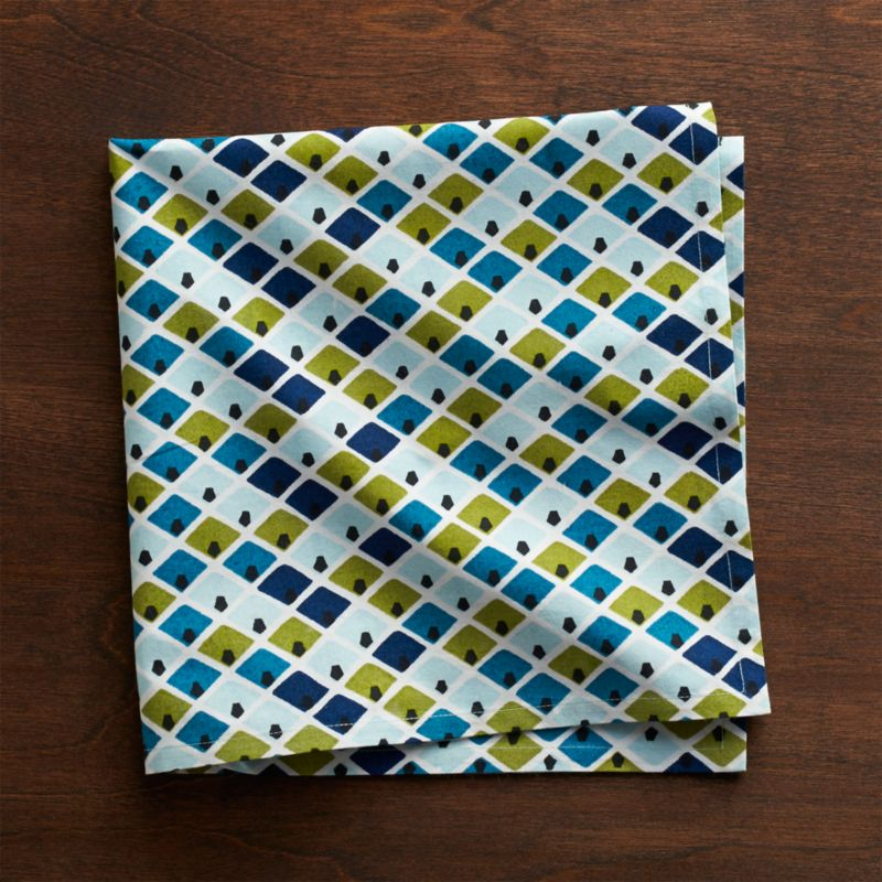 Modern geometrics echo vintage Indian textiles in this cotton napkin printed with interlocking diamonds of tonal blues and greens. White borders and small motifs inside each diamond add depth and interest.<br /><br /><NEWTAG/><ul><li>100% cotton</li><li>Do not dry clean or bleach</li><li>Machine wash cold, tumble dry; warm iron as needed</li><li>Made in India</li></ul>