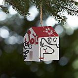 Joyful Deer House Wooden Ornament