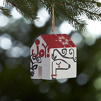 Joyful Deer House Wooden Ornament
