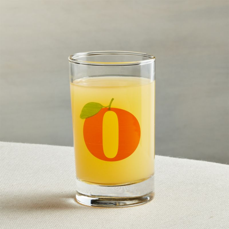 "Back by popular demand, this fun juice glass nods to the past with a retro, fruit-inspired letter ""O"". Graphically suggesting a serving of orange juice, this cheerful glass will gladly offer all kinds of beverages, even wine.<br /><br /><NEWTAG/><ul><li>Glass</li><li>Dishwasher-safe</li><li>Made in USA</li></ul><br />"