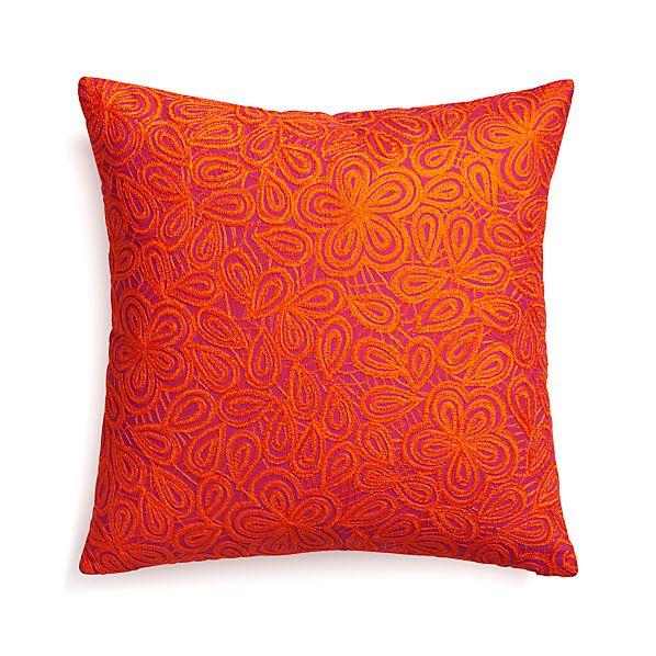 "Julian Orange 20"" Pillow with Down-Alternative Insert"
