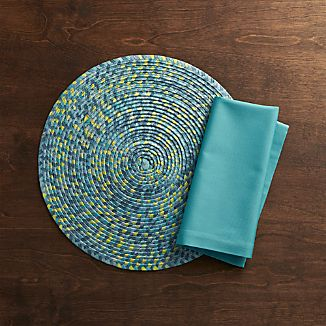 Kaleidoscope Ocean Placemat and Fete Aqua Napkin