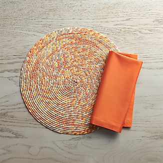 Kaleidoscope Sunset Placemat and Fete Coral Napkin