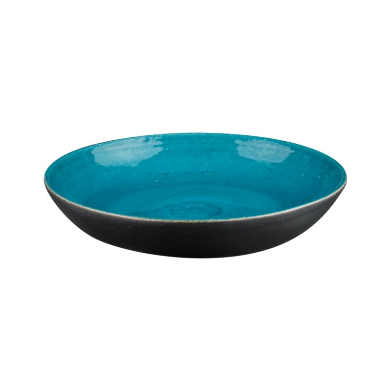 Brilliant reactive turquoise glaze beckons birds to this broad ceramic bath with rustic artisanal texture and a chic matte black exterior. The sparkling blue interior beautifully reflects water. Can also be used on its own as a colorful garden accent.<br /><br /><NEWTAG/><ul><li>Ceramic</li><li>Reactive blue and matte black finish</li><li>Made in Thailand</li></ul>
