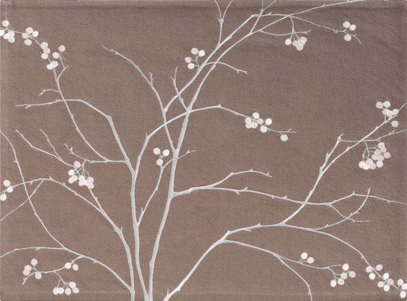 A flowing, organic arrangement of branches and berries is embroidered in glossy and sparkling rayon and metallic on neutral taupe cotton with a textural touch of flax.<br /><br /><NEWTAG/><ul><li>85% cotton and 15% flax with 100% cotton backing</li><li>Rayon and metallic embroidery</li><li>Machine wash; dry flat; warm iron as needed</li><li>Made in India</li></ul>