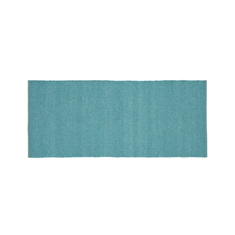 Kavi Aqua Wool-Blend 2.5'x6' Rug Runner