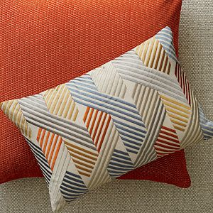 "Maura Orange 23"" Pillow with Feather-Down Insert"