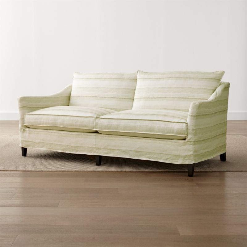 Keely 2-Seat Striped Linen Slipcovered Apartment Sofa