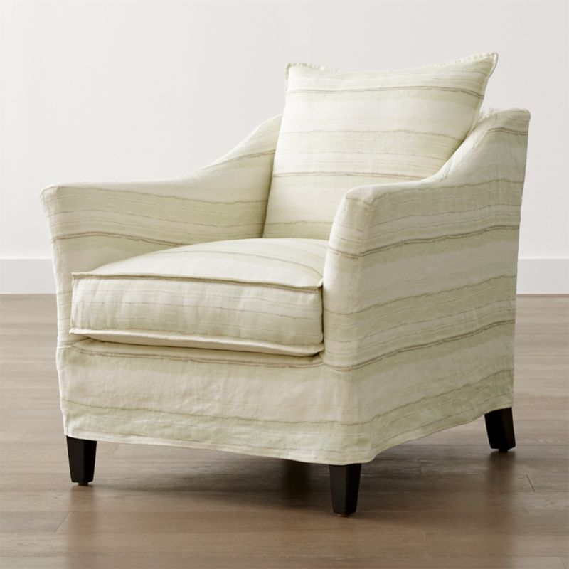 Keely Striped Linen Slipcovered Chair