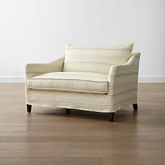 Keely Striped Linen Slipcovered Chair and a Half