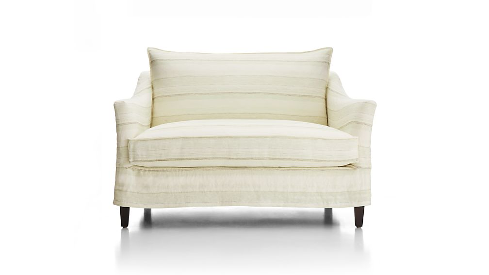 Striped Linen Slipcover Only for Keely Chair and a Half