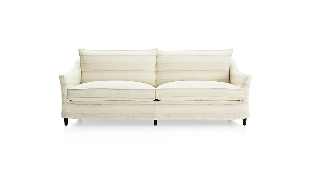 Keely 2-Seat Striped Linen Slipcovered Sofa