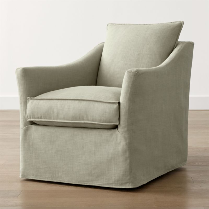 Keely Slipcovered Swivel Chair