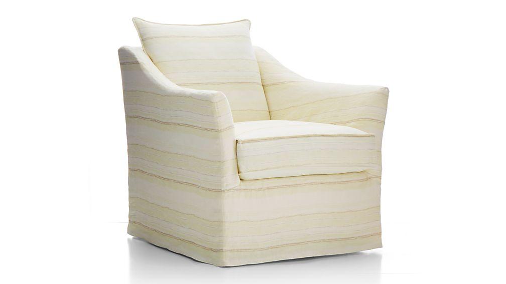 Keely Striped Linen Slipcovered Swivel Chair
