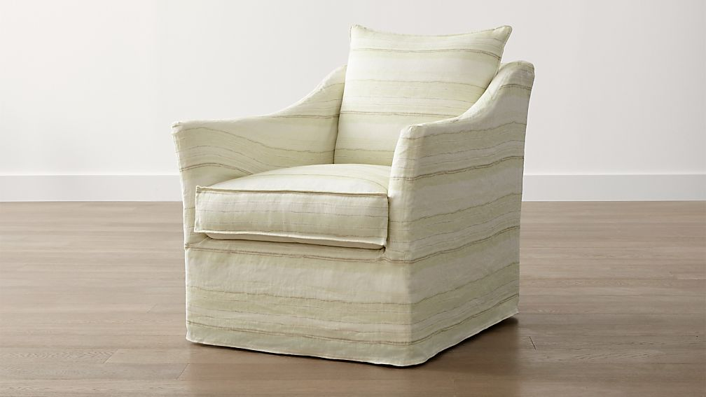 Striped Linen Slipcover Only for Keely Swivel Chair