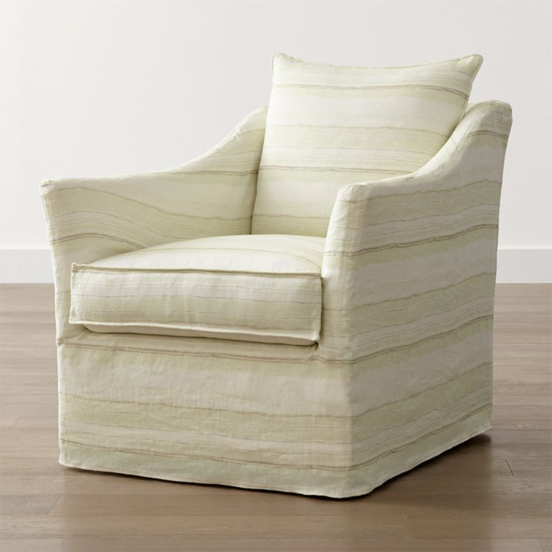 Keely Striped Linen Slipcovered Swivel Chair