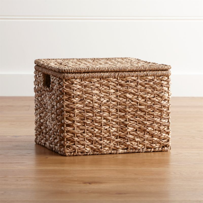 Kelby Small Square Lidded Basket Crate And Barrel