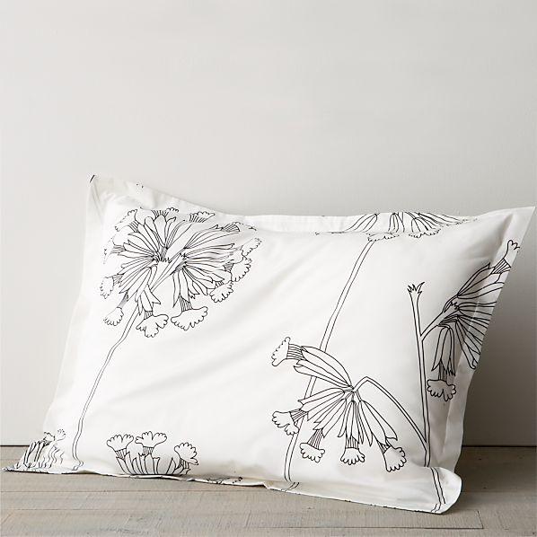 Marimekko Kevatesikko Black-White Standard Pillow Sham