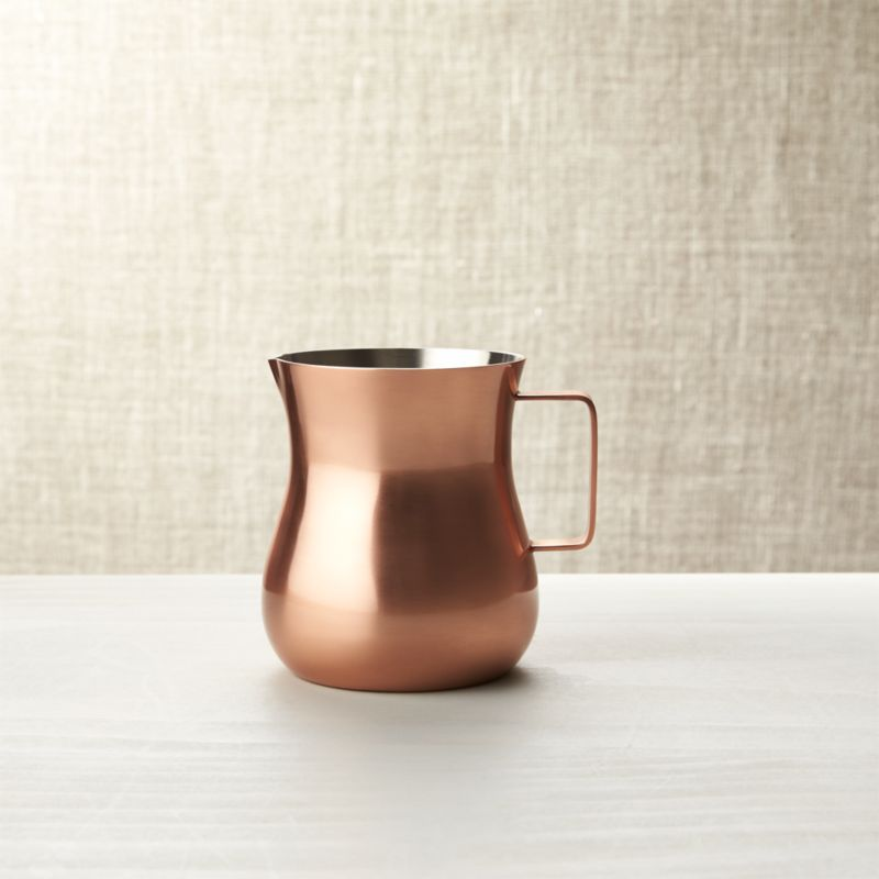 Complement breakfast coffee or casual tea with warm, rich copper hues and the provincial charm of a slimmed-down pot-bellied profile. A subtle pinch to the rim forms the spout opposite an inviting handhold.  Made from easy-care stainless steel with a brushed copper-plated finish. Pairs with Kinley Sugar Bowl.<br /><br /><NEWTAG/><ul><li>Stainless steel with brushed copper finished exterior</li><li>Food safe</li><li>Clean with damp cloth, dry with soft cloth</li><li>Made in India</li></ul>