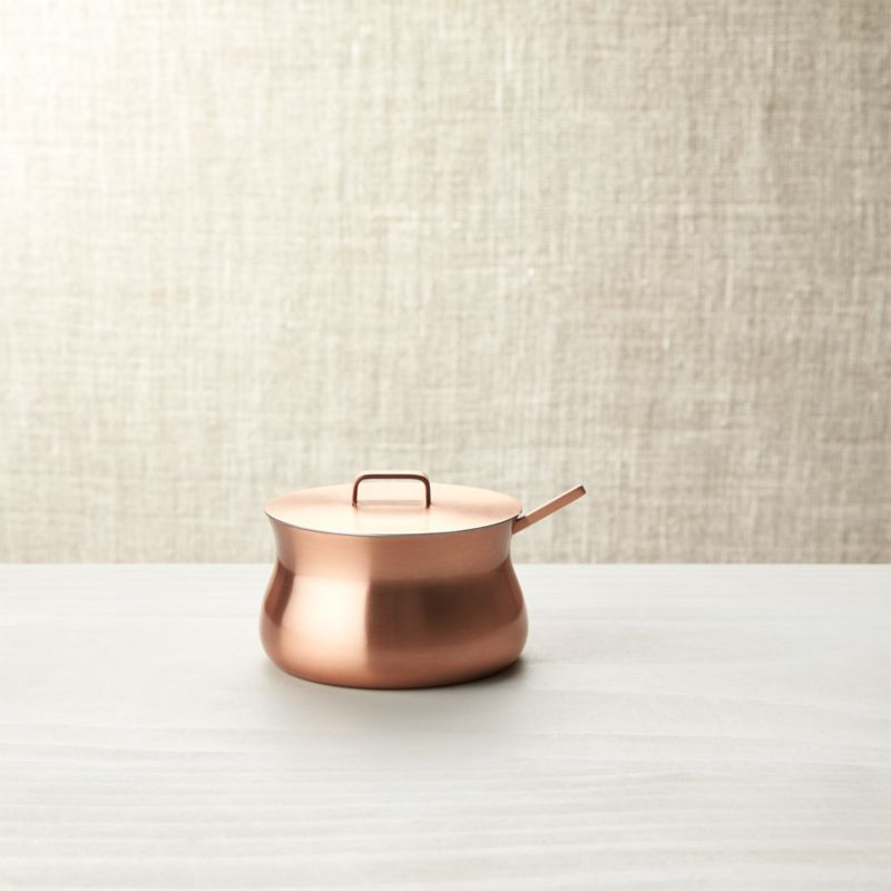 Complement breakfast coffee or casual tea at the kitchen island or coffee table with warm, rich copper hues and the provincial charm of its slimmed-down pot-bellied profile. With a snug handled lid and matching sugar spoon. Made from easy-care stainless steel with a brushed copper-plated finish. Pairs with Kinley Creamer.<br /><br /><NEWTAG/><ul><li>Stainless steel with brushed copper finished exterior</li><li>Food safe</li><li>Clean with damp cloth, dry with soft cloth</li><li>Made in India</li></ul>