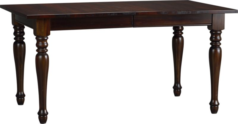 """Classic lines from the beaded apron to the turned legs let the beauty and integrity of richly-grained solid mahogany shine in this rectangular dining table. An 18"""" extension leaf extends the group from six to a party of eight.<br /><br /><NEWTAG/><ul><li>Solid mahogany</li><li>Clear protective lacquer finish</li><li>Seats up to eight</li><li>Made in Indonesia</li></ul>"""