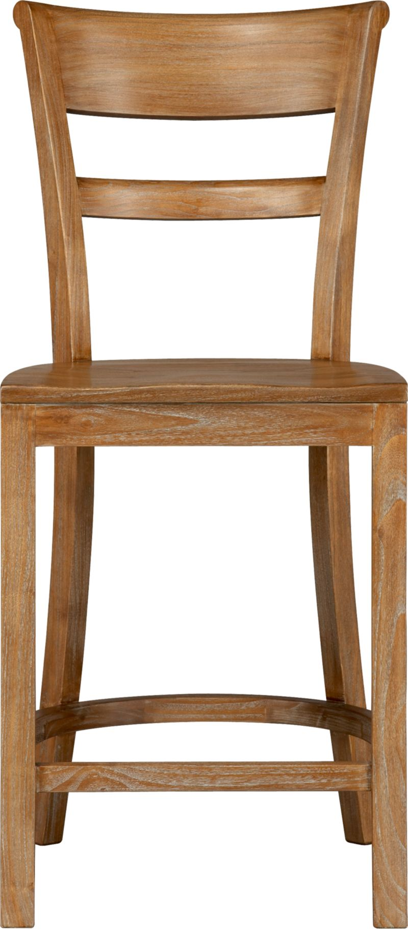 """Solid tropical sungkai wood seating pulls up to counter with ease and elegance. Barstool has graceful rolled back and comfortable contours to the seat. A soft-sheen lacquer adds a finishing detail.<br /><br /><NEWTAG/><ul><li>Solid tropical sungkai wood</li><li>Grey wash, clear protective lacquer finish</li><li>Contoured seat</li><li>24""""H seat sized for counters</li></ul>"""