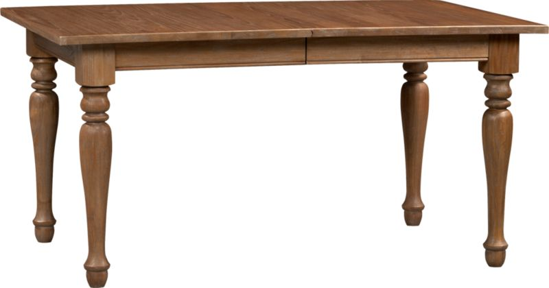 "Classic lines from the beaded apron to the turned legs let the beauty and integrity of richly grained solid sungkai wood shine in this rectangular dining table. An 18"" extension leaf extends the group from six to a party of eight.<br /><br /><NEWTAG/><ul><li>Solid tropical sungkai wood</li><li>Grey wash, clear protective lacquer finish</li><li>Seats six; eight with 18"" leaf</li><li>Made in Indonesia</li></ul>"