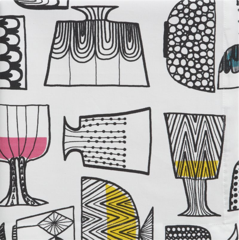 """Kippis (""""cheers"""") juxtaposes whimsical glasses and goblets with a formal compositional grid. Created by Maija Louekari in 2008, the combination of freehand black-ink sketching filled in with color and set on a stark white background creates a festive yet sophisticated pattern. Kippis was originally designed to pattern a porcelain mug with crystal glasses so as to make it more celebratory.<br /><br /><NEWTAG/><ul><li>Pattern designed by Maija Louekari; 2008</li><li>100% cotton</li><li>Machine wash, tumble dry; warm iron on reverse as needed</li><li>Made in Portugal</li></ul>"""