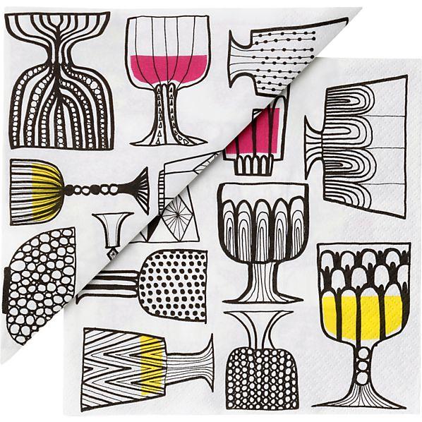 "Set of 20 Marimekko Kippis Paper 6.5"" Napkins"