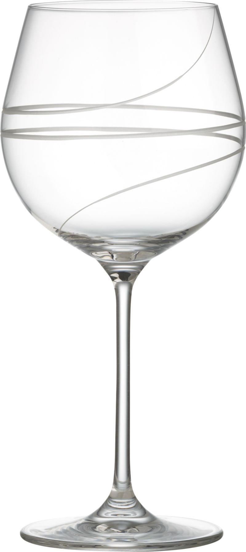 Elegant hand-engraved spirals add élan to the classic balloon wine glass. Modern machine-blown process mimics handblown glass at an affordable price.<br /><br /><NEWTAG/><ul><li>Clear glass</li><li>Hand-engraved and polished design</li><li>Diamond-cut and fire-polished rim</li><li>Hand wash</li><li>Made in Slovakia</li></ul>
