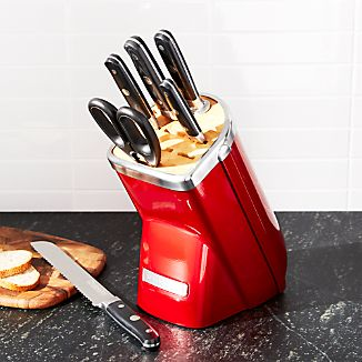 KitchenAid ® Professional Series 7-Piece Red Knife Block Set