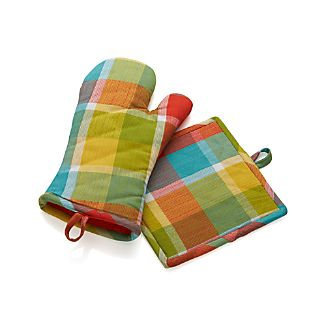 Kitchen Plaid Mitt and Pot Holder