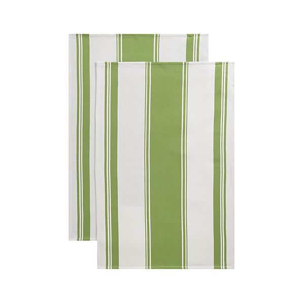 Kitchenette Green Dish Towels Set of Two