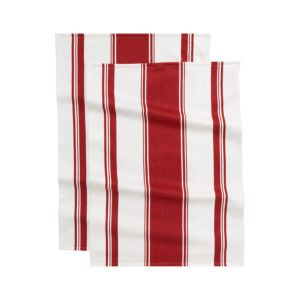 Set of 2 Kitchenette Red Dishtowels