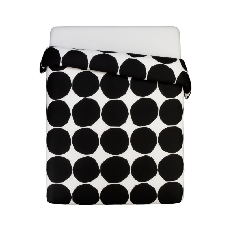 "Designed in 1956, Kivet (""stones"") marked the beginning of the close relationship between the legendary designer Maija Isola and Marimekko. A simple yet modern pattern, originally created by cutting paper circles with scissors, Kivet has been recreated in a variety of colors since its inception in black on white. Its simplicity makes the pattern an iconic and fundamental Marimekko print, representative both of the company's philosophy and graphic legacy. Reversible duvet cover has a hidden button closure at the bottom and interior fabric ties to hold the insert in place. Duvet inserts also available.<br /><br /><NEWTAG/><ul><li>Pattern designed by Maija Isola; 1956</li><li>100% cotton percale</li><li>300-thread-count</li><li>Machine wash cold</li><li>Made in Pakistan</li></ul>"